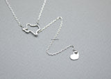 LOVE Texas (TX) Lariat Necklace, Heart Texas (TX) Y necklace in 3 colors, N0768K