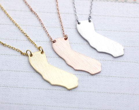 California (CA) necklace in gold / silver / pink gold(925 sterling silver/plated over Brass)