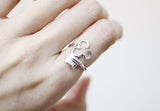 925 Sterling Silver Key and Lock Statement Ring in 3 Type