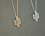 Cactus Necklace, Cacti Tree Pendant necklaces in 3 colors, N0600K