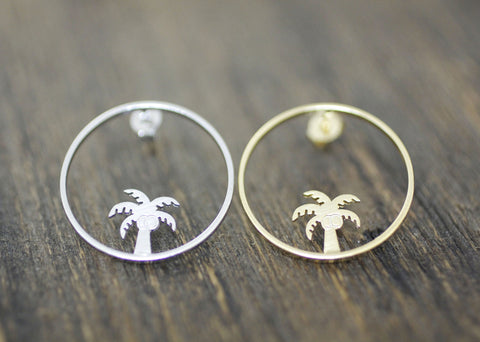 Dainty Palm Tree and Circle Earrings in Gold / Silver