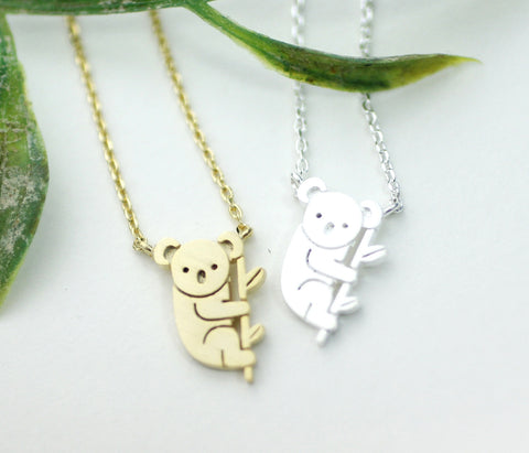 cute and unique tiny Koala pendant necklace(925 sterling silver / plated over Brass), N0161G