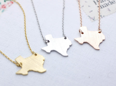Texas (TX) necklace in gold / silver / pink gold(925 sterling silver / plated over Brass)
