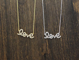 LOVE charm Necklace detailed with CZ in Gold /silver