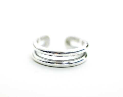 925 Sterling Silver 2 lines plain band midi rings, Knuckle Stacking Ring, R0198S