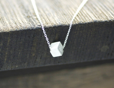 925 sterling silver Cube Necklace in gold /silver