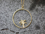 Dainty Palm Tree and Circle Pendant Necklace in 2 colors