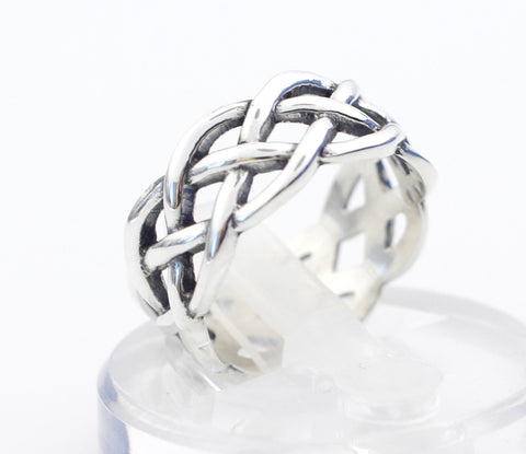925 Sterling Silver Twisted Helix Pattern Infinity simbol Ring