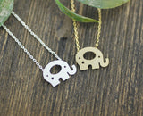 Cute elephant pendant necklace silver/ gold