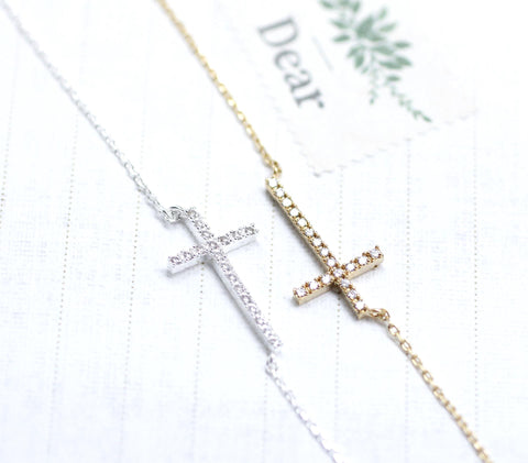 Rhinestone Sideways Cross pendant necklace Silver/Gold(plated, 925 sterling)