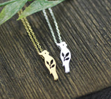 Parrot and Leaves Pendant Necklace in gold / silver