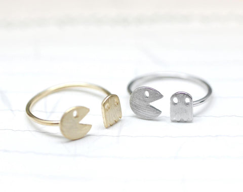 Vintage Game character  Pac Man and Ghost Ring in silver / gold