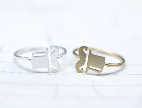 Mustache and Top hat Adjustable Ring  in 2 colors