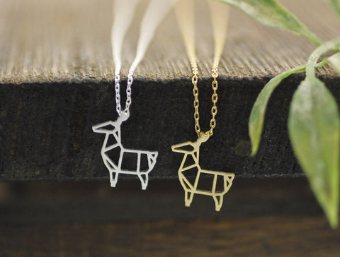 Cut-Out Origami Deer pendant Necklace in silver / gold