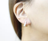 Howlite Triangle , Circle Ear Post, Marble Gemstone Earrings, Howlite earring