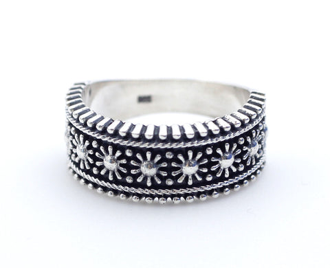 925 sterling silver Artisan Flowers Ring