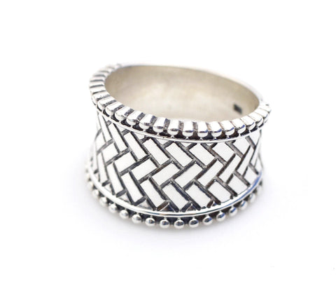 925 sterling silver Artisan Wide Band with Basket weave pattern Ring, Statement ring