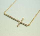 Big Rhinestone Sideways Cross charm pendant necklace in Gold / Silver