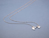 Vintage Game character Pac Man and Ghost necklace in silver / gold