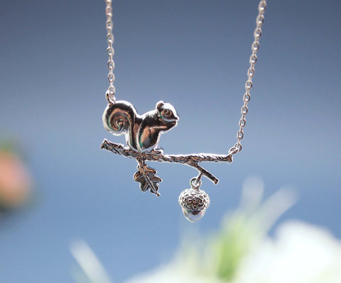 Forest Squirrel On a Branch Necklace in silver / gold