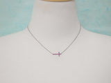 925 sterling silver Fuchsia swarovski Rhinestone Sideways Cross pendant necklace