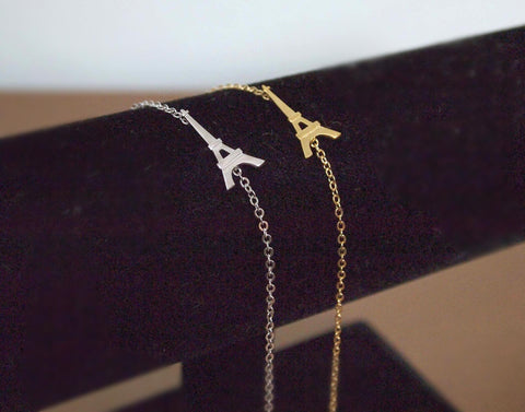 Eiffel Tower charm pendant  bracelet in gold / silver