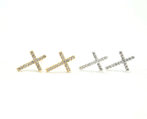 Rhinestones Cross Post earrings - silver Clear Cross/ gold Cross