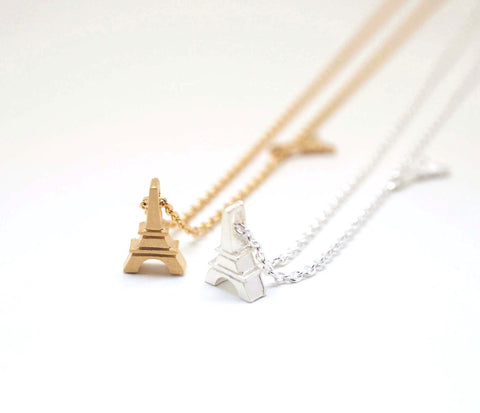 Eiffel Tower charm pendant necklace in 2 colors, N0971G