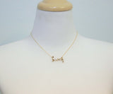 Love pendant necklace with pearl - Wire Word necklace(925 sterling silver / plated over Brass)