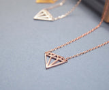 Cut-Out Diamond shape necklace in gold /silver / pink gold(925 sterling silver/plated over Brass)