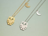 Owl and Moon charm pendant Necklace in matte gold / silver