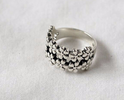 925 sterling silver Double lines Flower Ring, daisy flowers statement ring