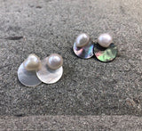 925 Sterling Silver Fresh water pearl and mother of pearl two way earrings, disc mother of pearl earrings