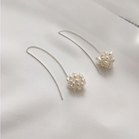 925 Sterling Silver Fresh water pearls Cluster drop Ear Threader,  Pearls Drop threader