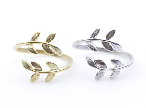Bay Leaf Ring in GOLD and SILVER-Adjustable