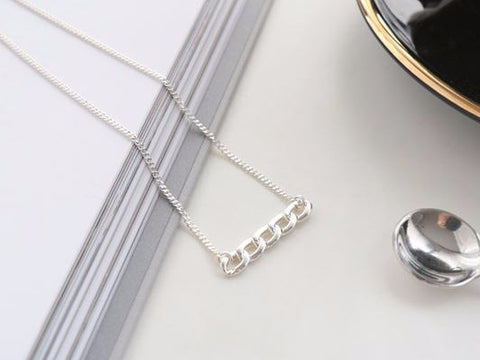 925 Sterling Silver Chain Bar pendant Necklace, N1110S