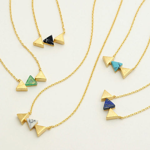 Tri-Force Arrow Gemstone Pendant Necklace (Black Howlite,White Howlite,Lapis Lazuli,Chrysoprase)
