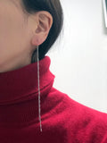 925 Sterling Silver cutting chain long ear threader,Long chain drop threader, cutting chain earrings, Unbalance earrings