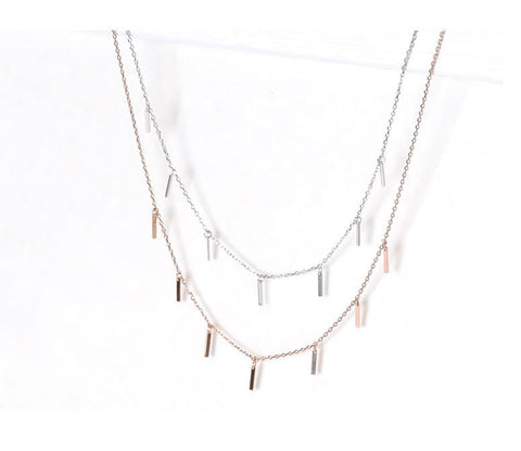 925 Sterling Silver Tiny bars Necklace, Wedding Necklace, layering necklace, simple sticks necklace
