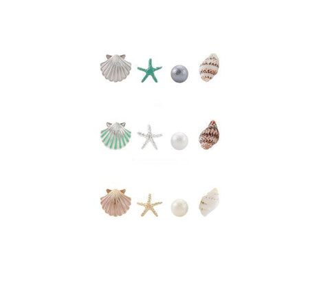 Set of 4 Marine Look stud earrings, Beach Earrings , scallop, starfish, conch seashell, pearl, set of 4 pieces