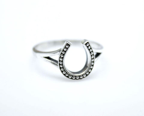 925 Sterling Silver Lucky Horseshoe Stacking Ring