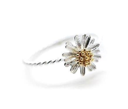 White daisy flower ring -3 (925 sterling silver / plated over Brass)