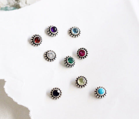925 Sterling Silver Birthstone Stud Earrings