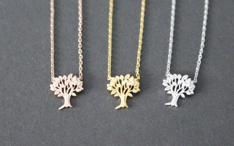 Leaves Tree Necklace, Plentiful Tree Pendant necklaces in 3 colors