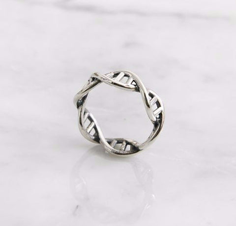 925 Sterling Silver DNA ring Chemistry Ring, Molecule Ring, Infinity Pattern Ring, R1072S