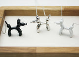 Lovely Balloon Poodle Dog Pendant Long Necklace in 4 colors, N1145S