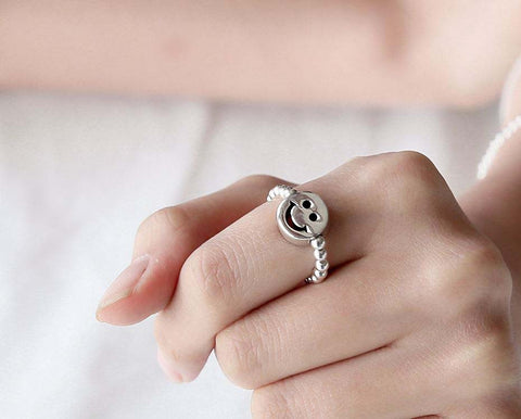 925 sterling silver Ball Bead and Smiley face charm Stretch Ring, rubber band Ring