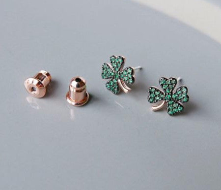 925 Sterling Silver Four Leaf Clover Earrings Emerald Green cubic Pave setting earrings