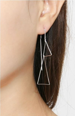 Long Triangle Ear Threader ,Pull Through Triangle Earrings. Triangle Earrings