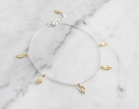 925 Sterling Silver Delicate hammered Branch and Leaf two tone Anklet